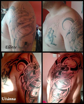 tribal dragon Cover Up-before and after