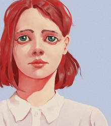 Redhead Girl In White Shirt