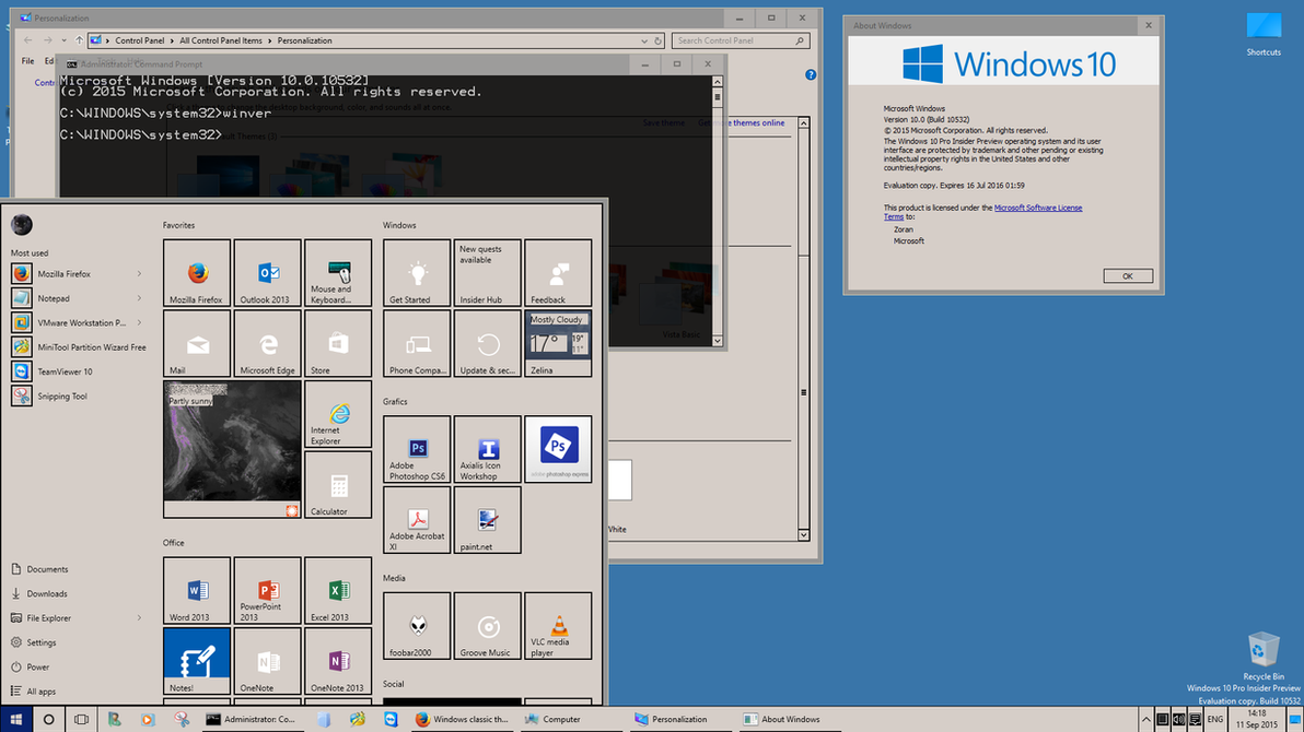 Classic on Windows 10 build 10532 by kizo2703