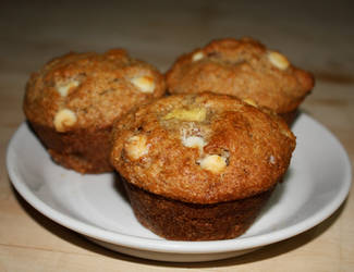 spiced banana muffins with white chocolate chips by agent229