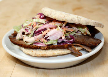 brisket sandwich with coleslaw by agent229