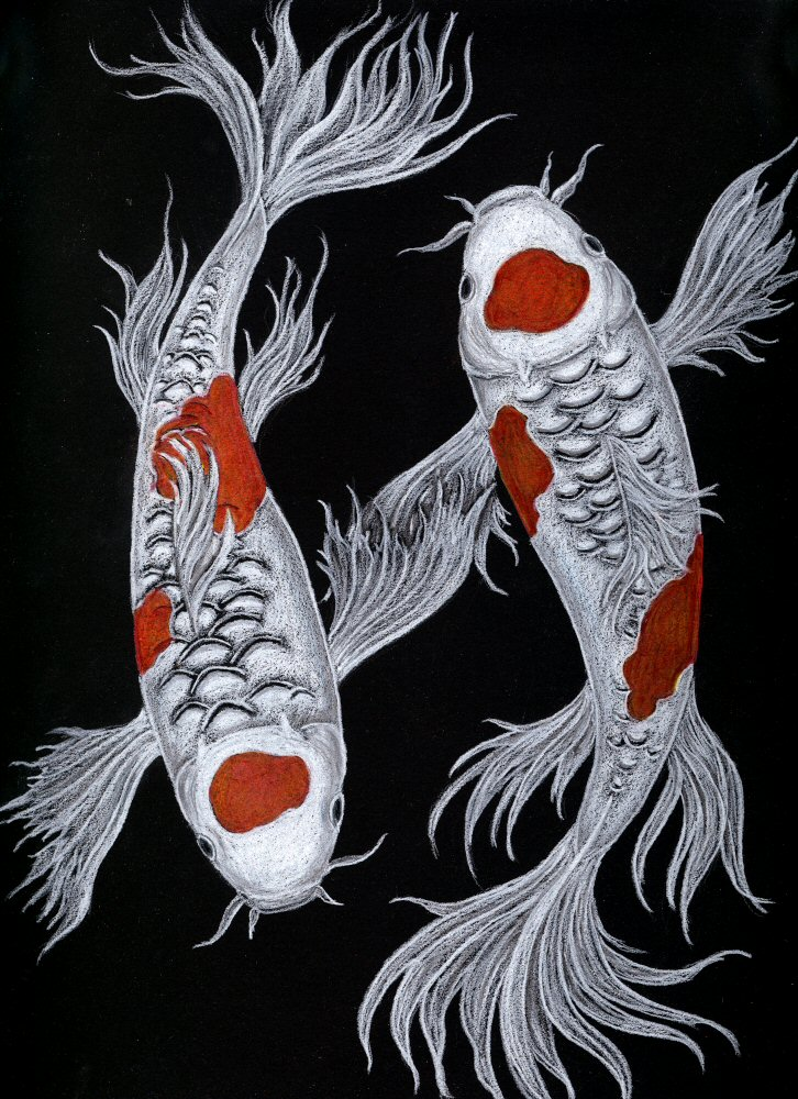 Koi symmetry by celestriastars on deviantart for Koi fish artwork