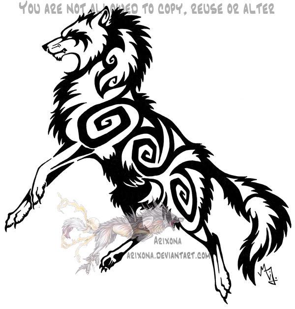 Tribal Wolf Wallpaper: Jumping Tribal Wolf By Arixona On DeviantArt