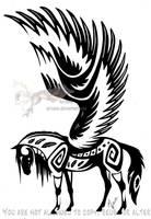 Winged tribal horse by Arixona