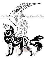 Winged wolf by Arixona