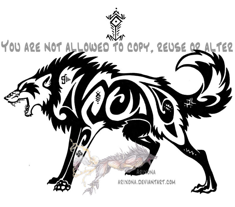 Tribal Wolf Wallpaper: Hieroglyph Tribal Wolf By Arixona On DeviantArt