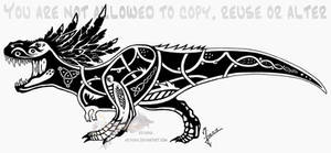 Feathered tribal T-Rex - celtic