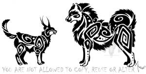 Caracal And Samoyed Tribal