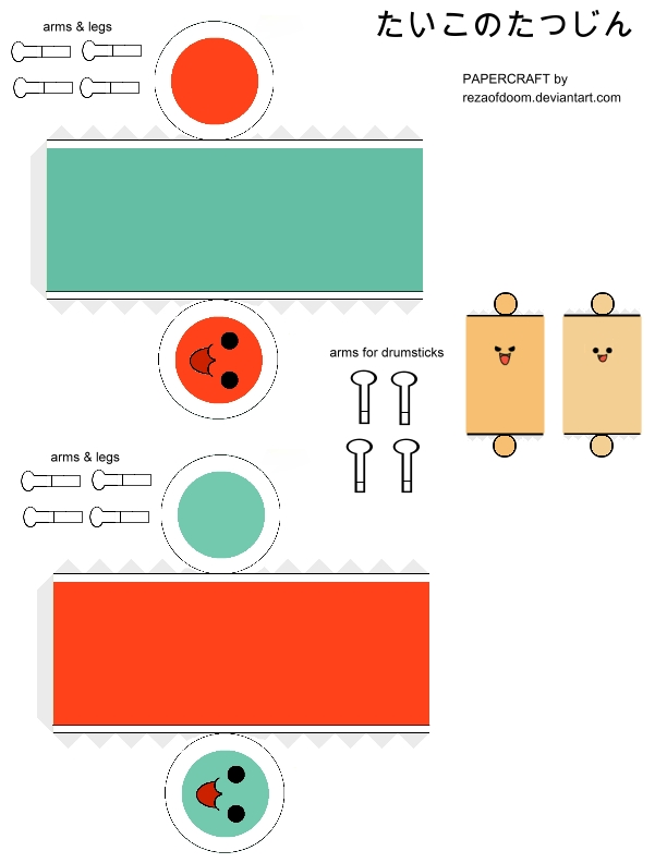 Taiko Papercraft Template By Rezaofdoom On Deviantart