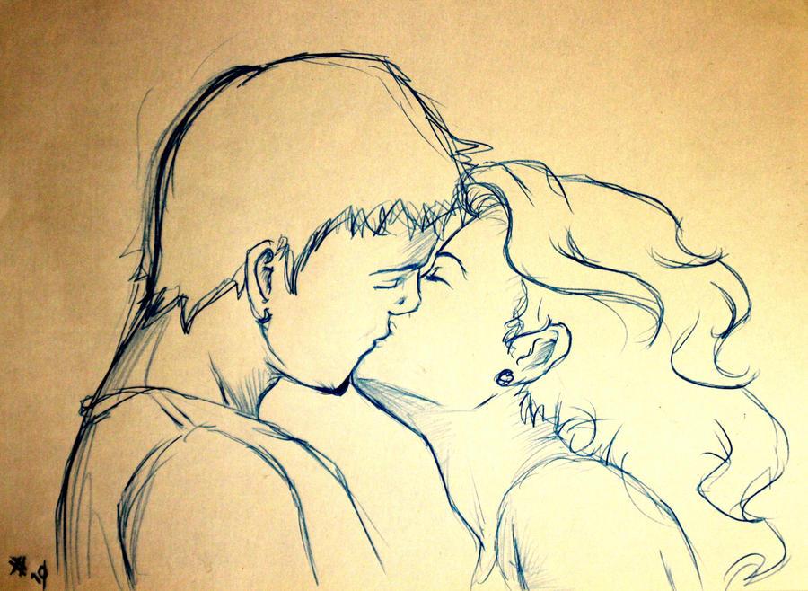 Как рисовать пару которая целуется 154