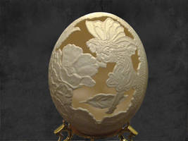 Hand carved ostrich egg