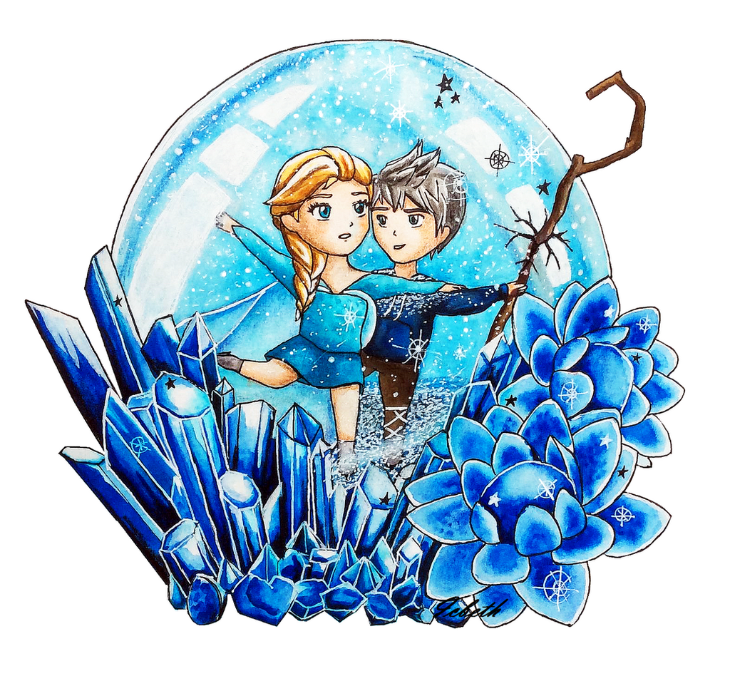 Elsa and Jack in a snowglobe by icbeth