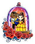 Beauty and the Beast in a snowglobe