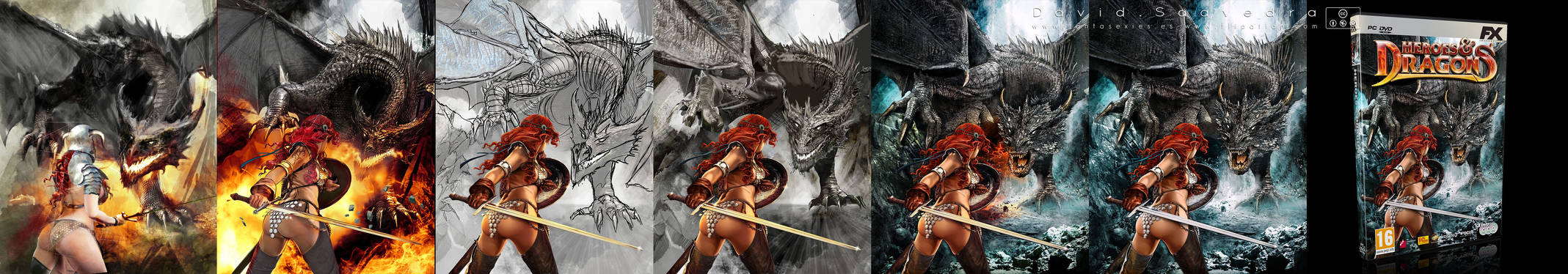Heroes and Dragons. Illustration steps.