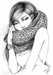 The girl with the knitted scarf by dushky
