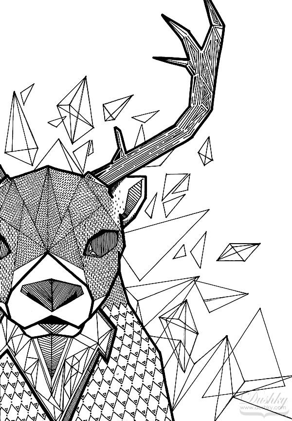Line Drawing Animal Tattoos : Geometric deer by dushky on deviantart