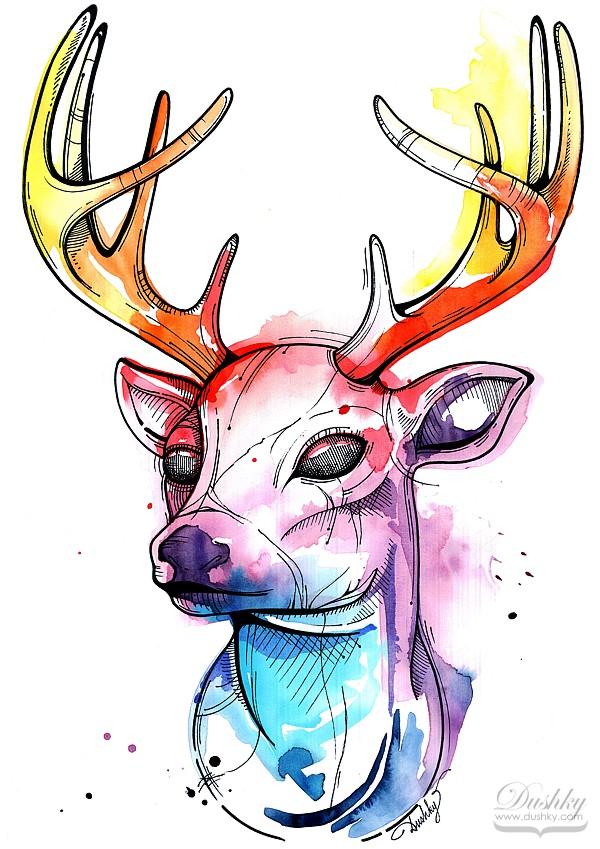 Watercolour Deer by dushky