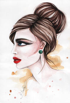 The girl with red lips
