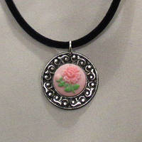 Pink Flowers - necklace by 2ndWindAccessories