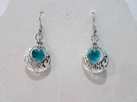 Caged Heart earrings - Blue and Silver by 2ndWindAccessories