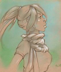 Sketch: Green Girl by mitengu