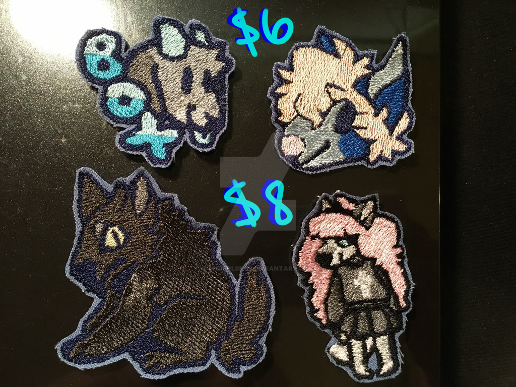 EMBROIDERY PATCH COMMISSIONS!! by spiderliings