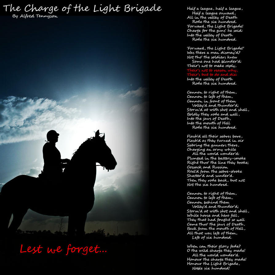 an analysis of the charges of the light brigade Get an answer for 'examine the purpose of the charge of the light brigade by and courage of the charge in the poem charge of the light brigade analysis.