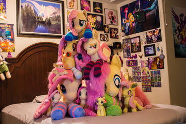 Fluttershy Plushie Mountain by FlutterbatIsMagic
