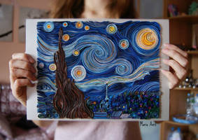 Quilling: The Starry Night by Vincent van Gogh by Masherisha