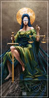Justice tarot card by Denouu