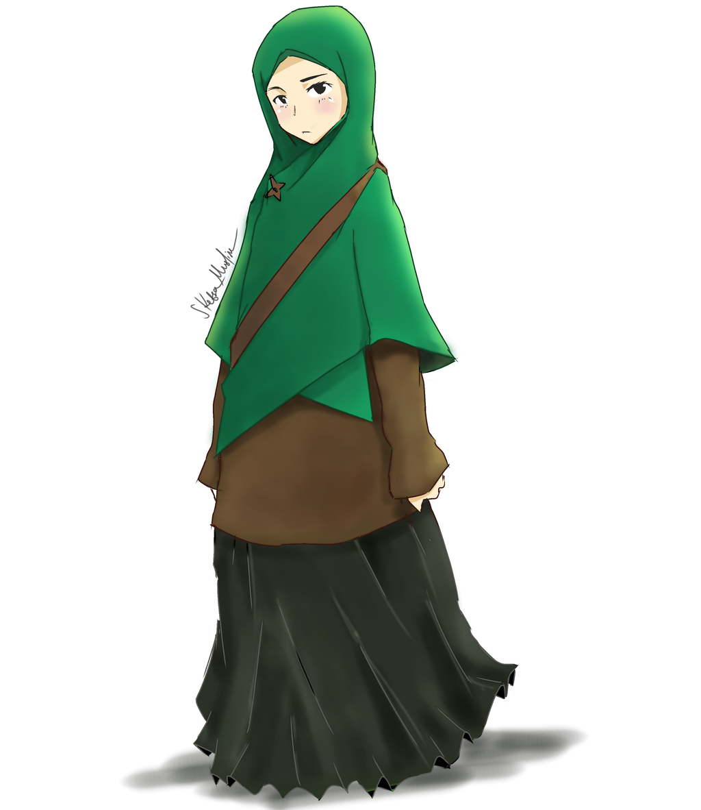 Anime Girl Wearing Hijab With The Green By Sketsamuslim On Deviantart