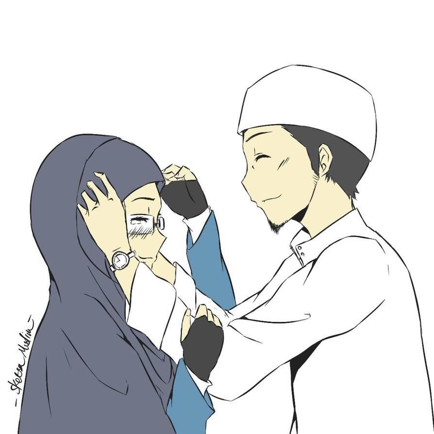 Kartun Muslim Couple Kolek Gambar