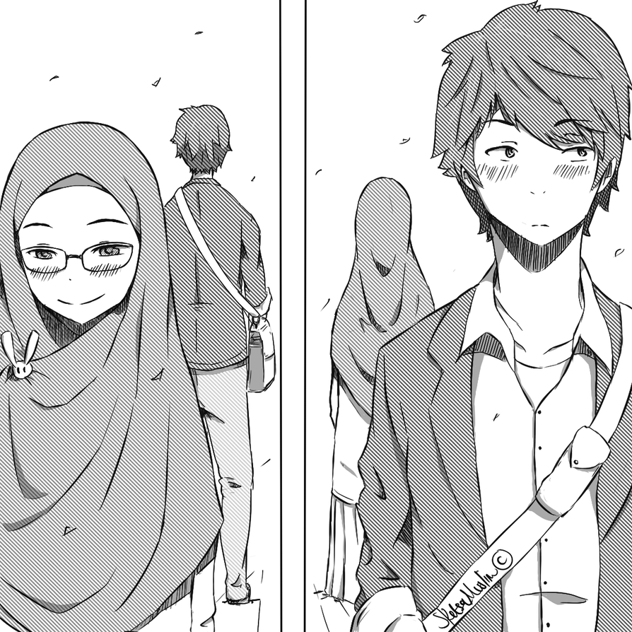 Muslimah anime couple under town