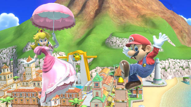 Smash Bros. Ultimate: Mario and Peach Going Down