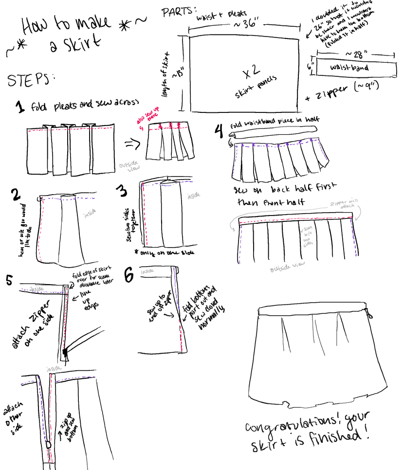 TUTORIAL: make a pleated skirt by YinYuHua on DeviantArt