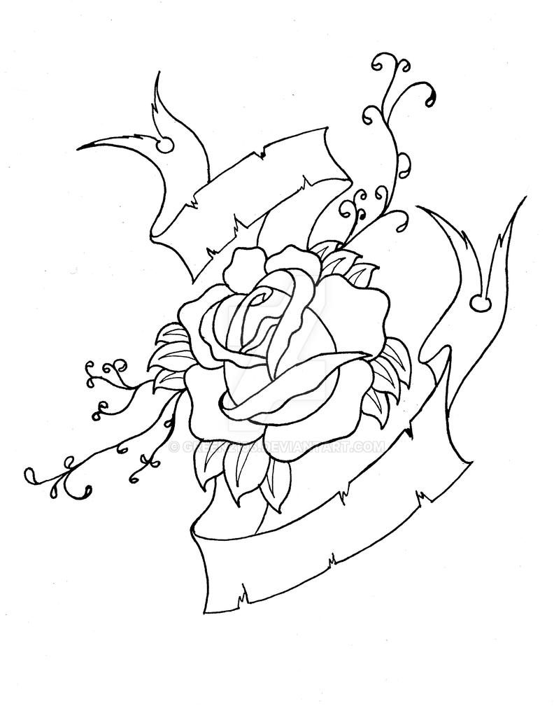 Drawing Of A Heart And A Rose Banners Roses And Tattoo
