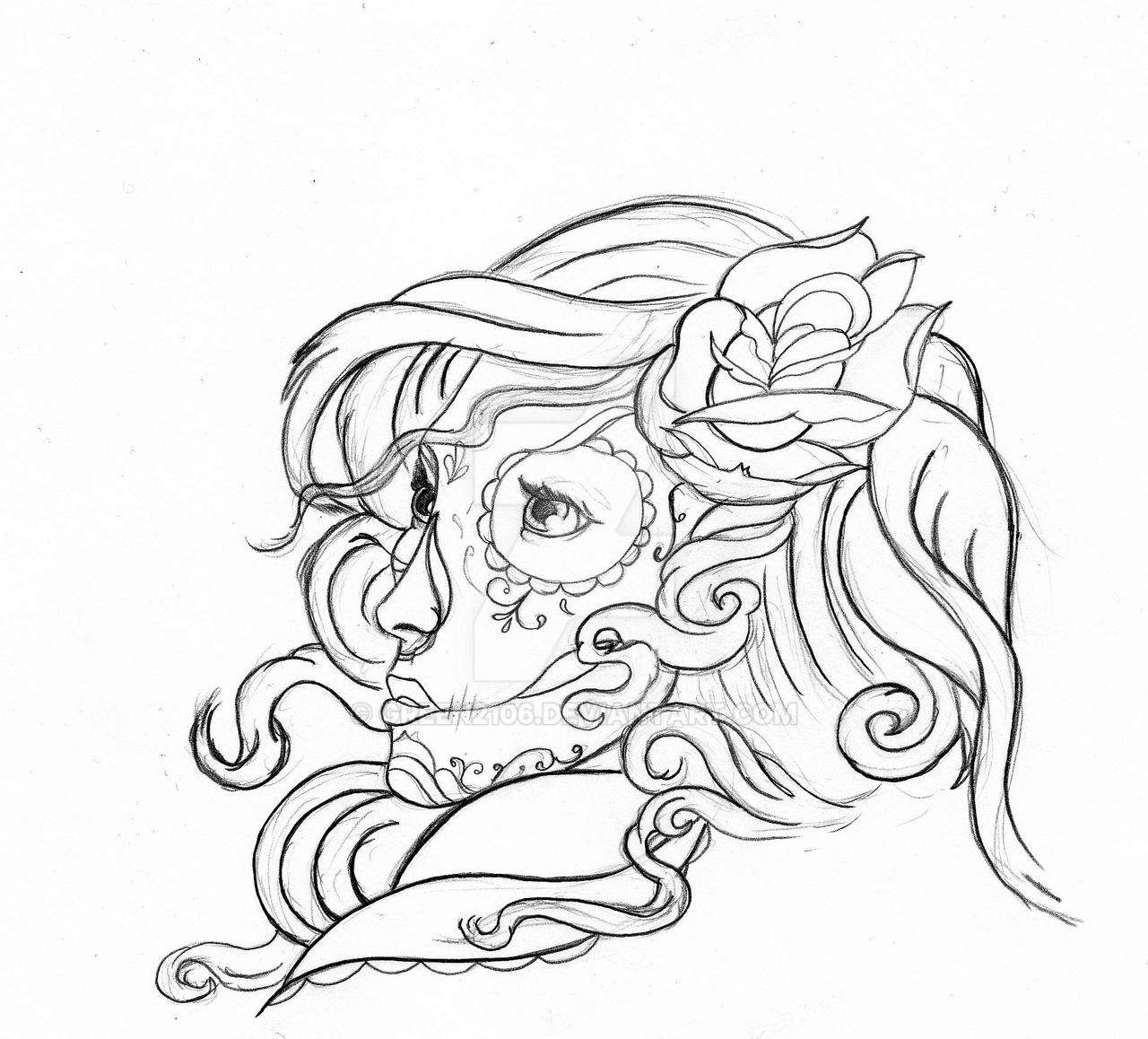Real gypsy candy skull by green2106 on deviantart for Skulls and roses coloring pages