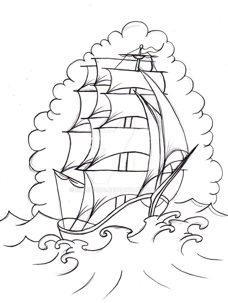 Line Art Boat : Old school boat by green on deviantart