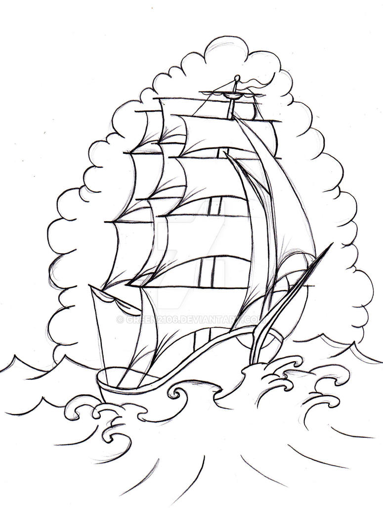 Tattoo Design Line Art : Old school boat by green on deviantart