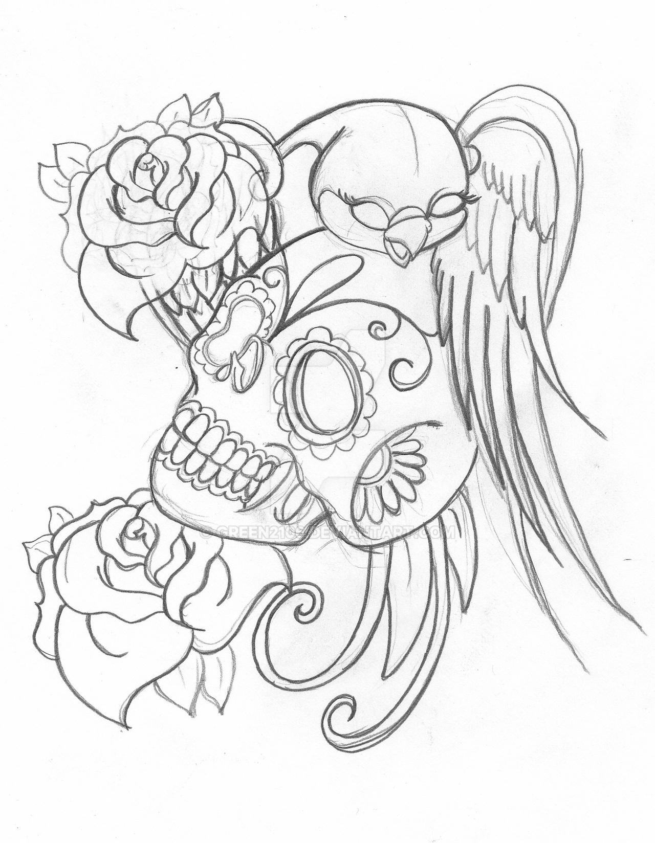 Candy skull by green2106 on deviantart for Simple sugar skull coloring pages