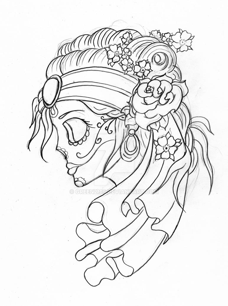 Gypsy Candy Skull With Flowers By Green2106 On DeviantArt