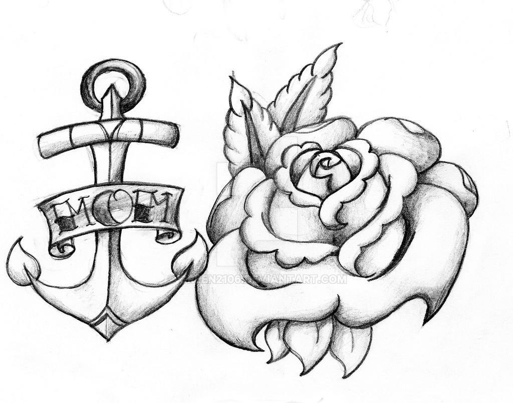 Rose and anchor by green2106 on deviantart for Anchor with roses tattoo