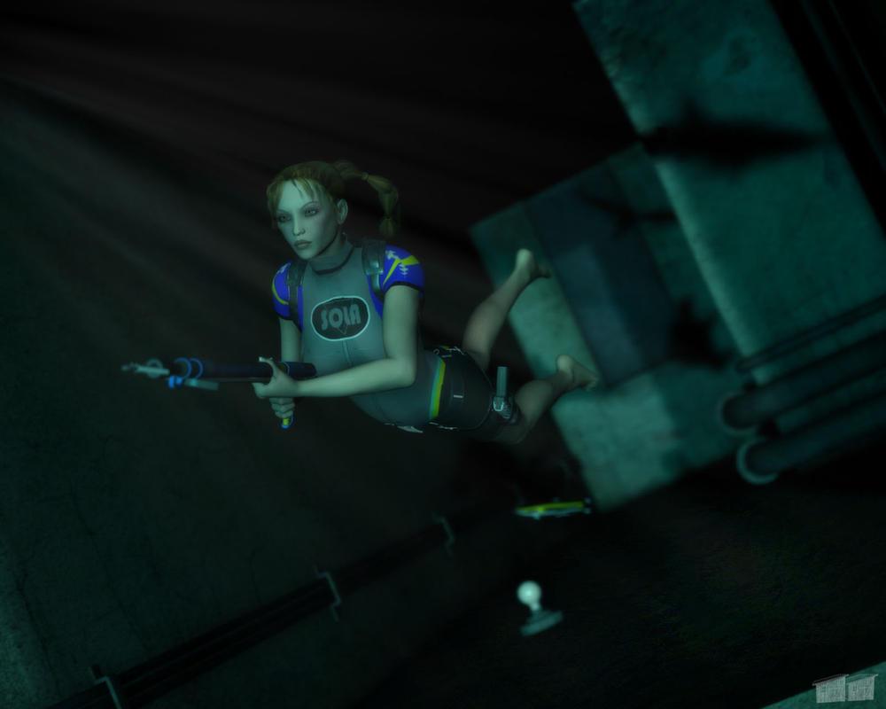 Lara Croft Underwater by twosheds1
