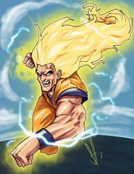 Goku Super Saiyan 3 American style by scottssketches