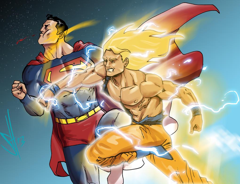 Goku vs Superman by scottssketches