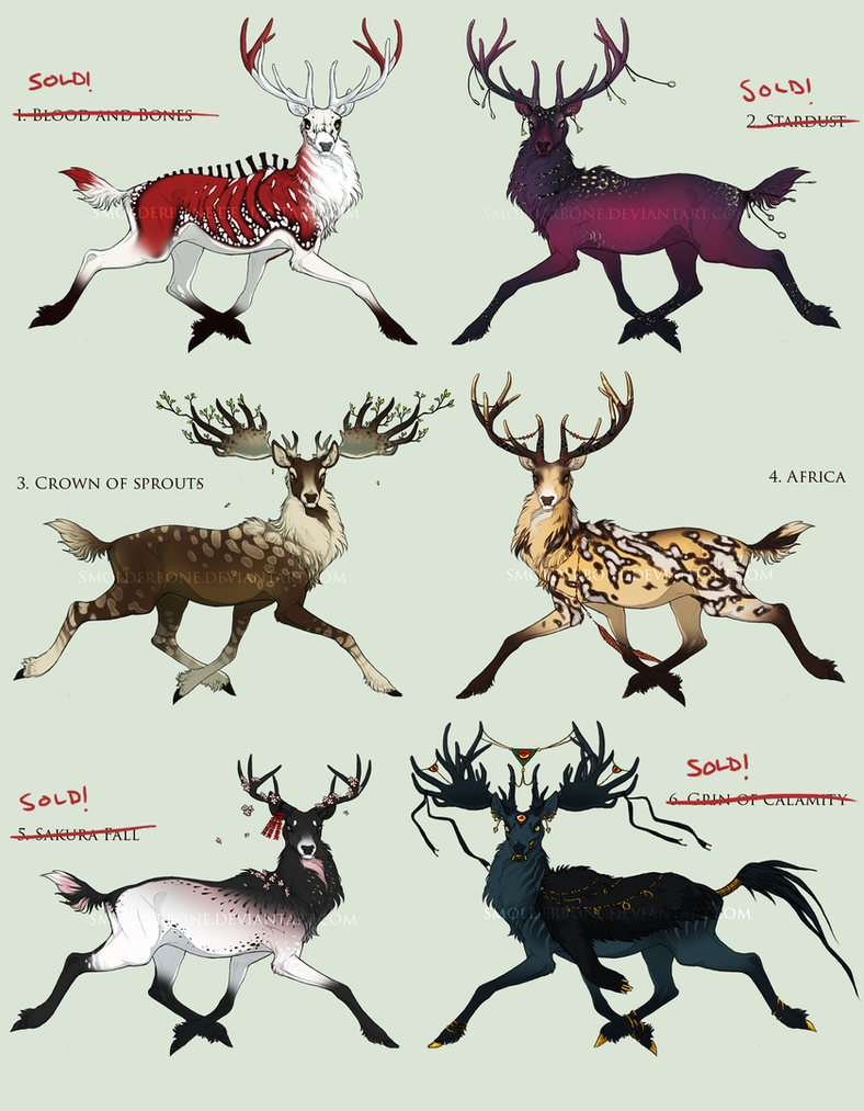 Stags - The Good and the Bad - adoptables {CLOSED} by SmolderBone