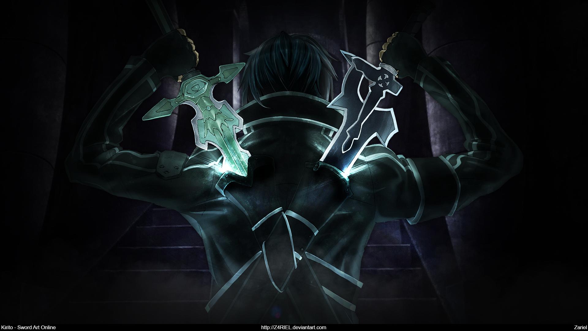 Sword Art Online Kirito Dual Blades Wallpaper By Z4riel On Deviantart