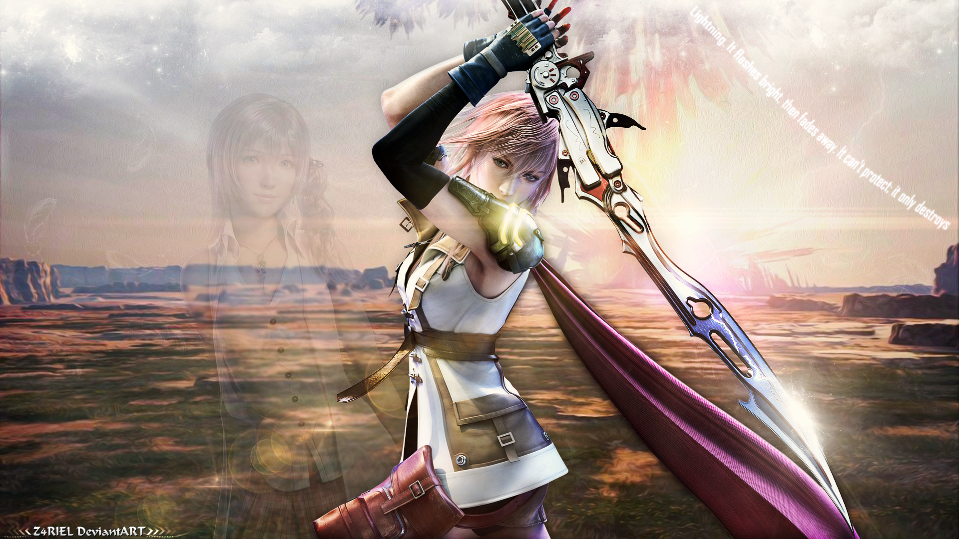wallpaper - lightning [final fantasy xiii]z4riel on deviantart