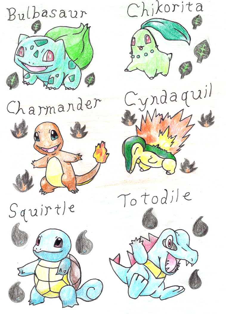 johto and kanto starters by delusiondealer on deviantart