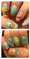 Spongebob nails by MistyPixelFan